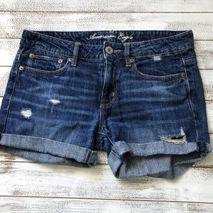 AMERICAN EAGLE DISTRESSED MEAN JEAN SHORTS